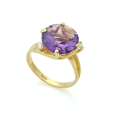 Золотое кольцо с аметистом и бесцветными топазами 4.5 г SL-2112-410